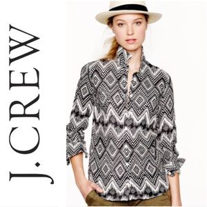 J CREW Boy Fit in Black & White Diamond Ikat Linen